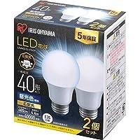 アイリスオーヤマ LED電球 口金直径26mm 広配光 40W形相当 昼光色 2個パック 密閉器具対応 LDA4D-G…