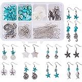 SUNNYCLUE 1 Box DIY 10 Pair Starfish Seahorse Shell Dangle Earring Making Kit Jewelry Making Supplies Beading Starter Kits fo