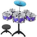M SANMERSEN 24 Inch Kids Drum Kit 9 Pieces Drum Set for Kids Jazz Drum Set with Drum Throne for 3-5 Years Old Children Boys G