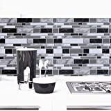 Black and White Peel and Stick Removable Wallpaper,11.8inch x 78.7inch Contact Paper Tiles Stick Self Adhesive Wallpaper Wate