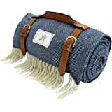Good Gain Wool Blended Waterproof Picnic Blanket, Extra Large Foldable Beach Rug with PU Handle, Portable Sandproof Picnic Ma