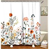 "LIVILAN Cherry Blossom Shower Curtain Set with 12 Hooks, Polyester, Leaf Flower-1, 70.8"" X 70.8"""