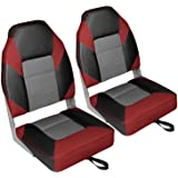 Leader Accessories A Pair of Deluxe High Back Folding Fishing Boat Seat (2 Seats)