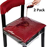 OULII Chair Protector Waterproof PVC Dining Chair Covers Removable Pack of 2