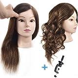 "ErSiMan Professional Female Cosmetology Mannequin Head with Hair 100% Human Hair 18"" Manikin Head for Perm Dye Brading Hair H"