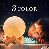 Moon Lamp, 3 Colors 3D Led Moon Night Light lamps for Kids Gifts for Women, USB Rechargeable & Touch Control & Dimmable Moon