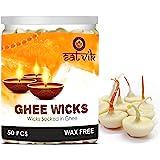 Crafts'man Pure Ghee Wicks (Pack of 50 Pcs) / Readymade Ghee Cotton Wicks/Diya Batti/Puja Batti