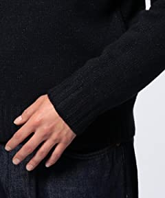 Wool Cashmere Lame Boatneck Sweater 1113-199-3172: Navy