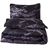 A Nice Night Closure-Printed Marble Ultra Soft Comforter Set Bed-in-a-Bag,Queen, Polyester & Polyester Blend, Black, Queen