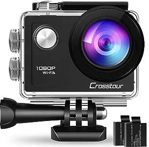 Crosstour アクションカメラ WiFi搭載 1080PフルHD高画質 1200万画素 30M防水 ウェアラブルカメラ 2インチ液晶画面 170度広角レンズ 1050mAhバッテリー2個 バイク/自転車/車に取り付け可能 豊富なアクセサリー付き スポーツカメラ 新代目CT7000