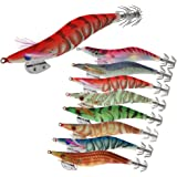 Croch 8pcs Squid Jig Hard Fishing Lures Artificial Spinner Lures Kit Jig Hook Shrimps Prawn Luminous Tail Glow in Dark