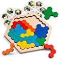 Coogam Wooden Hexagon Puzzle For Kid Adults - Shape Pattern Block Tangram Brain Teaser Toy Geometry Logic Iq Game Stem Montes