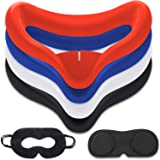 10PCS Set VR Silicone Face Cover Pad Compatible for Oculus Quest 2 , Sweat-Proof Lightproof Non-Slip Washable Replacement (Bl