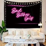 Decorative Wall Tapestry, Bad Bitches Only Words in Neon Light for Bedroom Living Room Outdoor 51 X 60 Inches