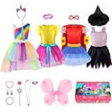 Jeowoqao Girl Dress up Trunk, 24 Pieces Pretend Play Costume Set for Toddler/Little Girls Ages 3-5yrs