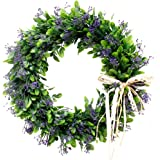 Palmhill 16 inch Wreath Front Door, Artificial Plastic Green Leaf Lavender Wreath with Bow Spring Farmhouse Hoop Wreath Green