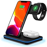 FDGAO Wireless Charger 15W Fast Wireless Charger Stand 3 IN 1 QI Charging Dock Station for Apple Watch Series 6/SE/5/4/3/2,Ai