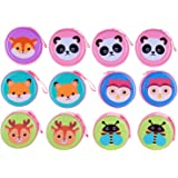 Birthday Popper Animal Metal Tin Case Pouch (Pack of 12) for Earphone/ Coins/ Jewelry /Gift Box as Party Favor for Kids and A