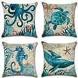 Throw Pillow Case Cushion Cover Linen Home Decorative Ocean Theme 18x18in (Halobios#2)
