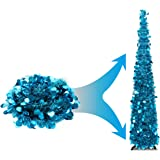 Joy-Leo 5 Foot Blue Collapsible Tinsel Tree Plastic Stand, Shiny Tinsel Christmas Tree Reflective Sequins, Decorative Artific