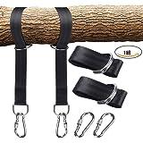 ハンモック用ベルト ハンモック固定ロープ 2本セット 収納袋とフック付き - 長さ150cm 幅5cm 耐荷重量800kg - キャンプ アウトドア用 簡単設置 - ブラック