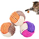 3Pcs Cat Toy Sisal Ball Pet Scratching Ball Chew Eco-Friendly Toy Pets Interactive Toy Bite and Wear Resistant(Random Color)