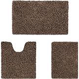 HOMEIDEAS Microfiber Absorbent Bath Rug, Chenille Washable Floor Mat -Non Slip Soft Carpet Modern Brown