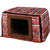 PetStyle キューブハウス ペット ハウス ベッド マット 超小型犬 猫 2WAY Sサイズ (ブリック)