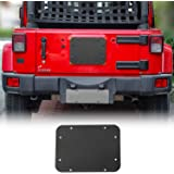 JeCar Spare Tire Carrier Delete Filler Plate Tramp Stamp Tailgate Vent-Plate Cover with Aluminum for 2007-2018 Jeep JK Wrangl