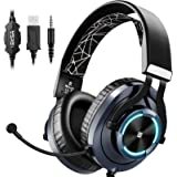 EKSA Gaming Headset PS4 Xbox One Headset with Noise Cancelling Mic & RGB Light - Over Ear Gaming Headphones for PC, Laptop, X