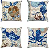 Throw Pillow Case Cushion Cover Linen Home Decorative Ocean Theme 18x18in (Halobios#1)