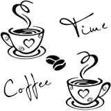 CUNYA 2 Sets Kitchen Wall Decor Stickers, Coffee Time Cups and Beans Peel and Stick Wallpaper, DIY Removable Wall Art Decals