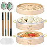 MacaRio 10 Inch Handmade Natural Bamboo Steamer, 2 Tier Baskets with Side Handles & Banding, 4 Sets Chopsticks 2 Sauce Dishes