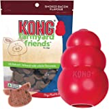 KONG - Classic Dog Toy & Farmyard Friends Smoked Bacon Bundle - Durable Natural Rubber, Fun to Chew, Chase and Fetch - All Na