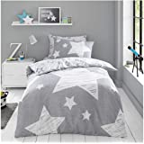 GAVENO CAVAILIA Luxury Kids Fitted Sheet Set OR Super Star Duvet Cover OR Easy Care Children Curtains, Polycotton, Grey, Doub