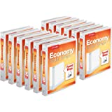 """Cardinal Economy 3-Ring Binders, 1"""", Round Rings, Holds 225 Sheets, ClearVue Presentation View, Non-Stick, White, Carton of 1"""