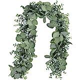 Winlyn 6' Long Faux Eucalyptus Leaves Greenery Garland Artificial Silver Dollar Eucalyptus Garland in Grey Green Wedding Arch