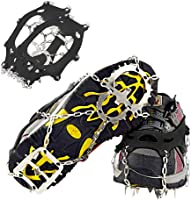 NeeMay Traction Cleats Ice Snow Grips with 18 Teeth Stainless Steel Spikes Crampons Anti-Slip Ice Grippers Safe for...