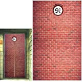 Platform 9 And 3/4 King's Cross Station, Curtains Door for Harry Potter, Red Brick Wall Party Backdrop, Party Supplies Decora