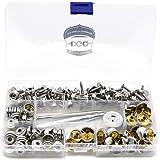 "DGQ 150 PCS Canvas Snap Kit Tool - Metal Screws Snaps Marine Grade 3/8"" Socket Stainless Steel Boat Canvas Snaps 3 Pcs Settin"