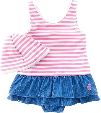 【Sandia サンディア】子供水着 女の子 バックスクエア ピンクボーダー