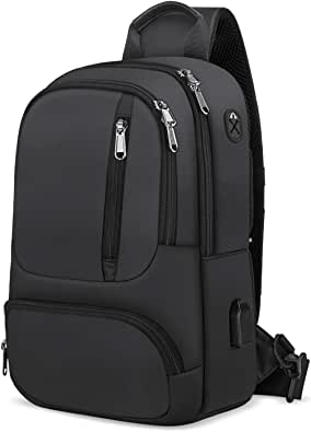 KTMOUW ボディバッグ 斜め掛け ショルダーバッグ メンズ 大容量 ワンショルダーバッグ 防水 男性用 バッグ ブラック