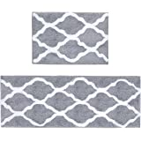 Pauwer Microfiber Bath Rug Set Non Slip Bath Mat 2 Piece Set for Bathroom Absorbent Rug Runner Machine Washable (18×26+18×47.