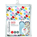 Sunbeam Ironing Board Cover   Reversible EasyGlide & Geo Print   10mm Felt Padding   100% Cotton   Machine Washable   Perfect