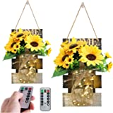 CALATOUR Mason Jar Wall Sconces Set of Two Sunflower