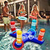 Inflatable Pool Ring Toss Pool Game Toys Floating Swimming Pool Ring with 4 Pcs Rings for Multiplayer Water Pool Game Kid Fam