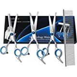 Dog Grooming Scissors, Bubuxy Pet Grooming Trimmer Kit, Dog Cat Grooming Shears Set, The kit Includes Cutting Scissors, Thinn