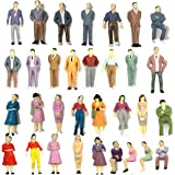 Gdaya 50PCs Tiny People Figures, 1:50 Scale Model Train People Hand Painted Model Trains Architectural O Scale Sitting and St
