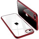 TORRAS iPhone SE 用ケース 第2世代 iPhone7用 iPhone8 用ケース 2021年新型 透明 ソフトTPU 赤 メッキ加工 クリア 薄型 軽量 耐衝撃 SGS認証 黄ばみなし レンズ保護 4.7インチ アイフォン SE用 7
