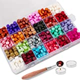 600PCS Wax Seal Beads Packed in Plastic Box, with 2PCS Tea Candles and 1 PC Wax Melting Spoon for Wax Stamp Sealing (24 Color